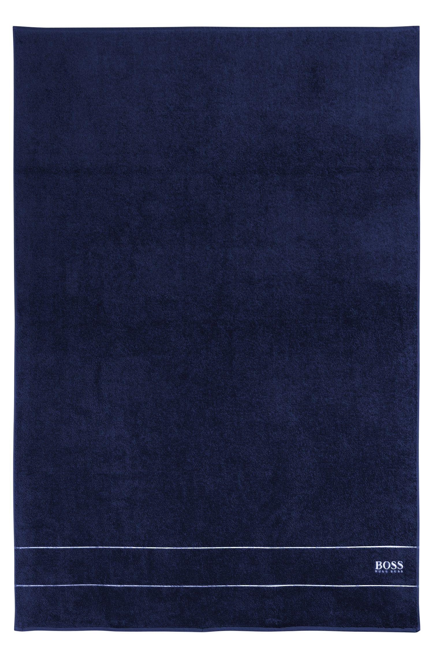 Badlaken van de fijnste Egyptische katoen met rand met logo, Donkerblauw