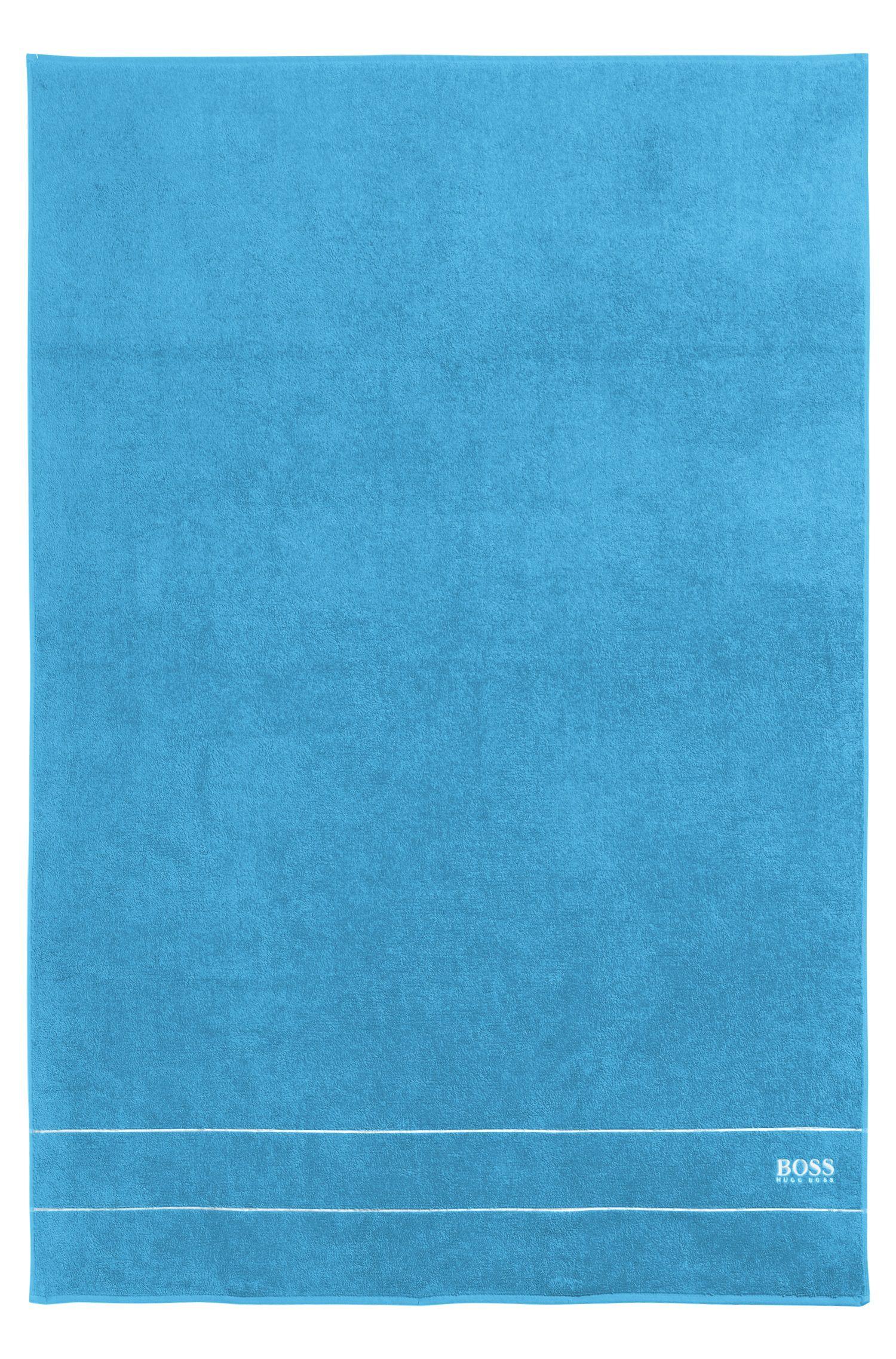 Badlaken van de fijnste Egyptische katoen met rand met logo, Blauw