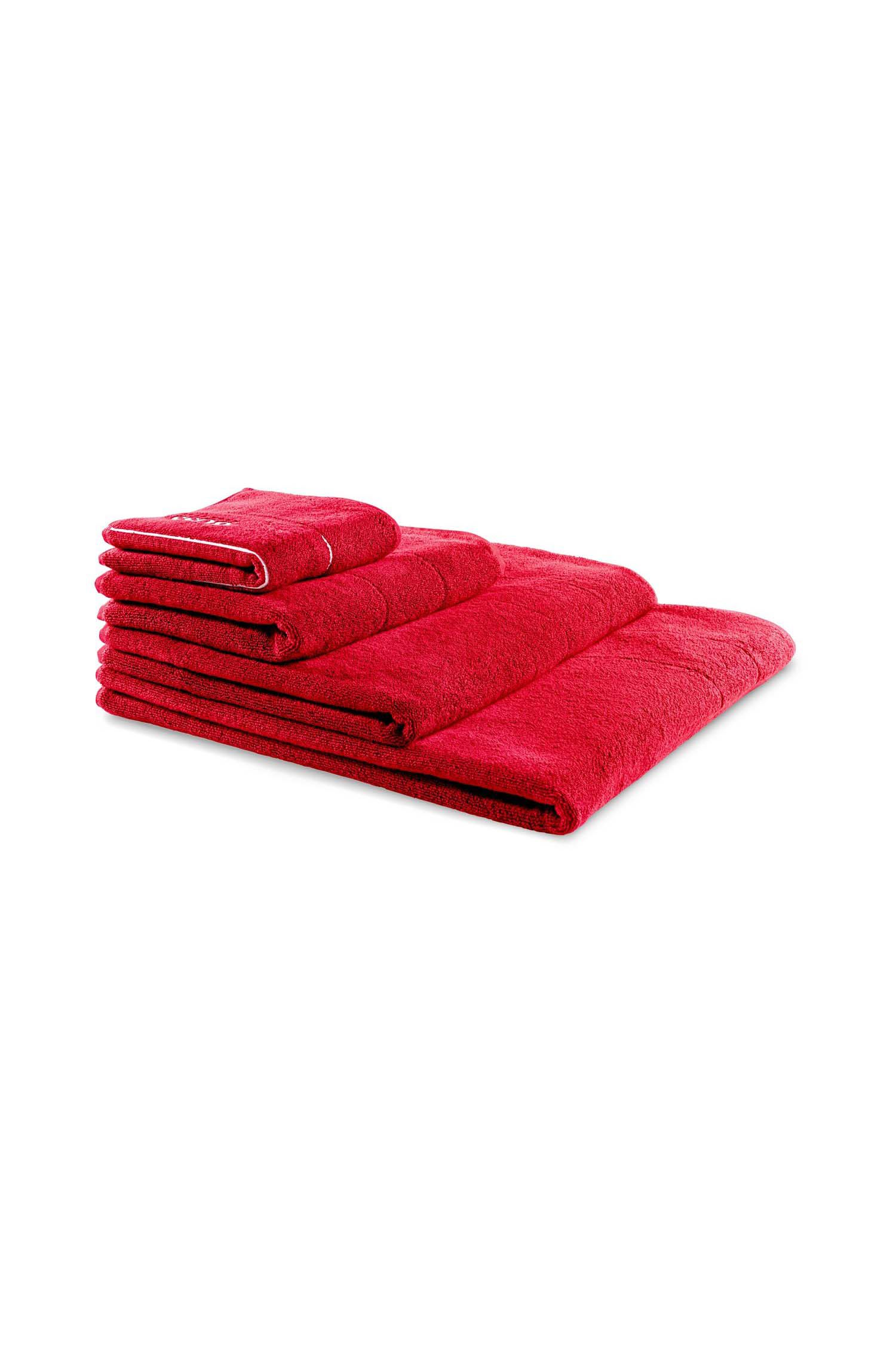 Finest Egyptian cotton bath sheet with logo border, Red