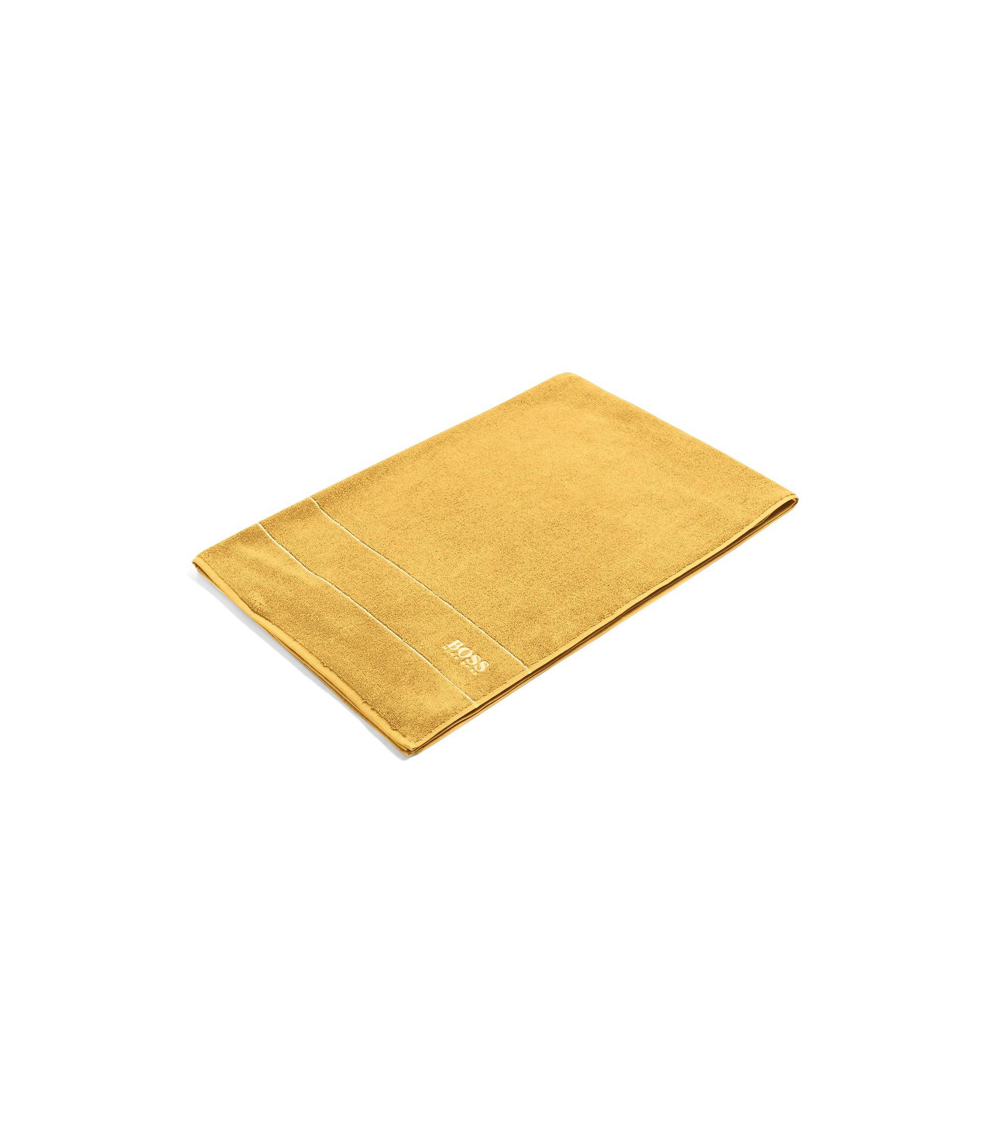 Badlaken van de fijnste Egyptische katoen met rand met logo, goud
