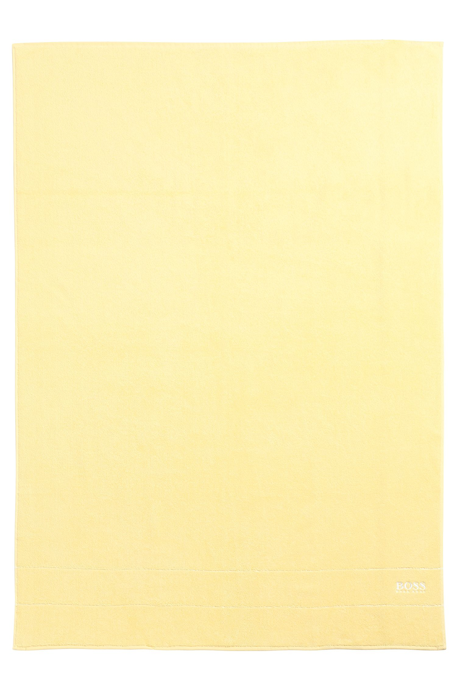 Finest Egyptian cotton bath sheet with logo border, Light Yellow