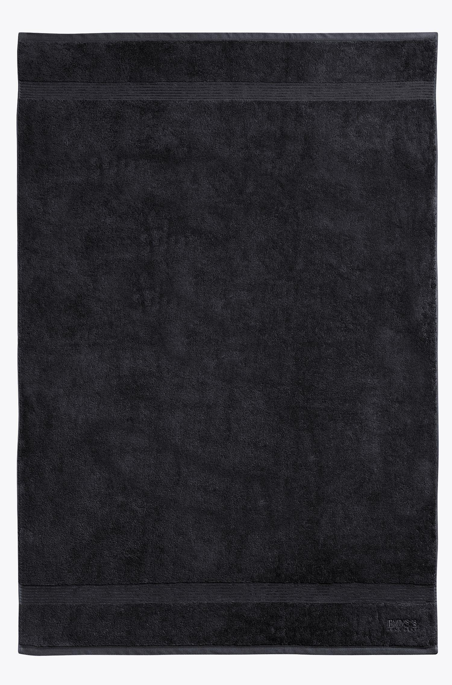 Asciugamano da bagno in cotone egeo pettinato con bordo a coste, Nero