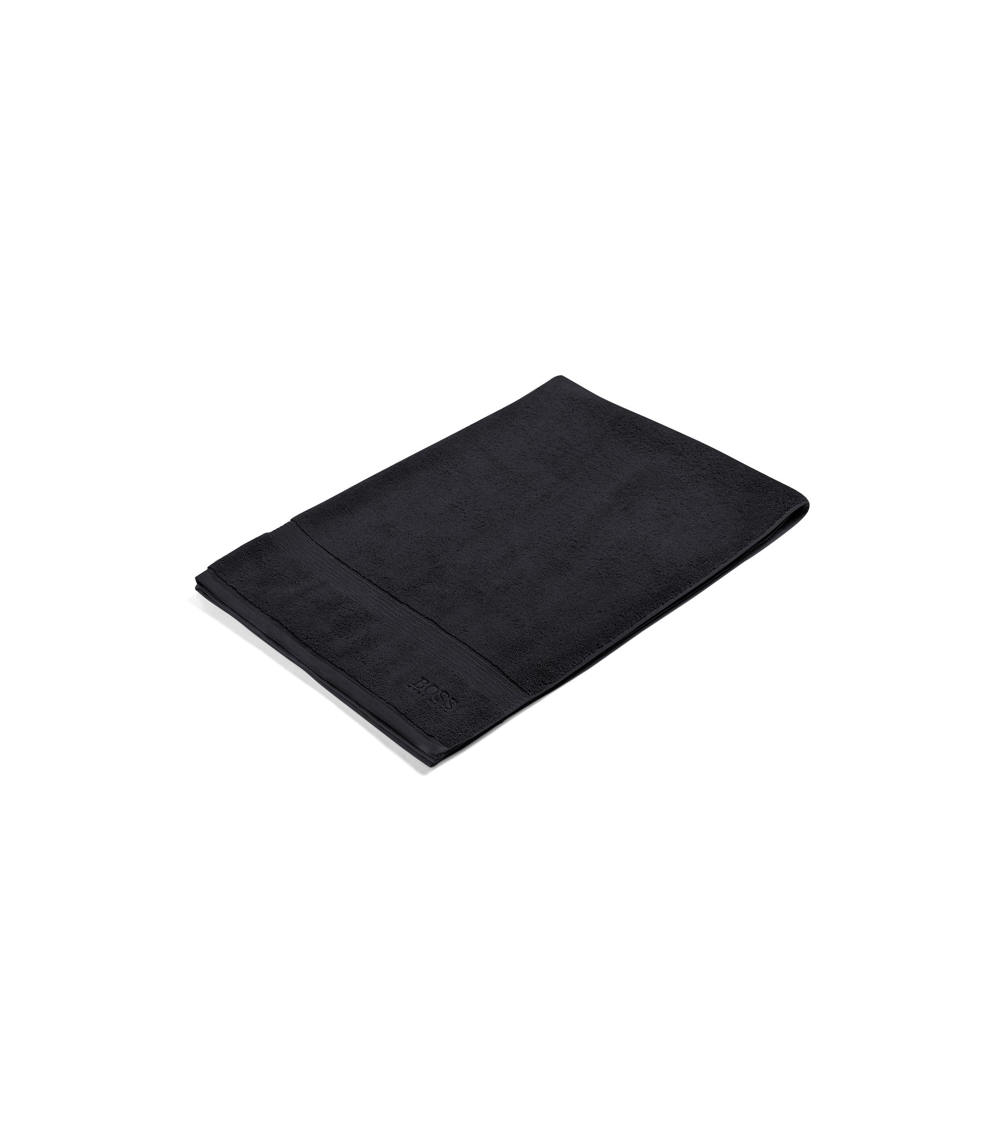 Bath sheet in combed Aegean cotton with ribbed border, Black