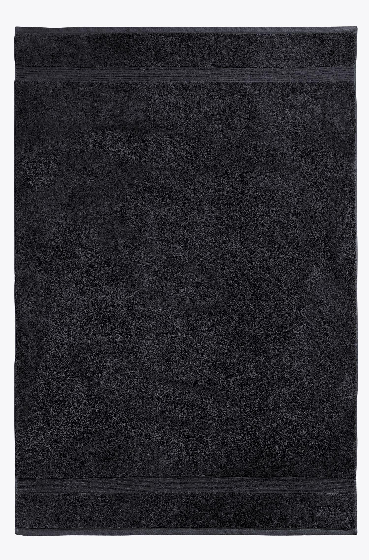Badetuch aus gekämmter ägäischer Baumwolle mit gerippter Bordüre, Schwarz
