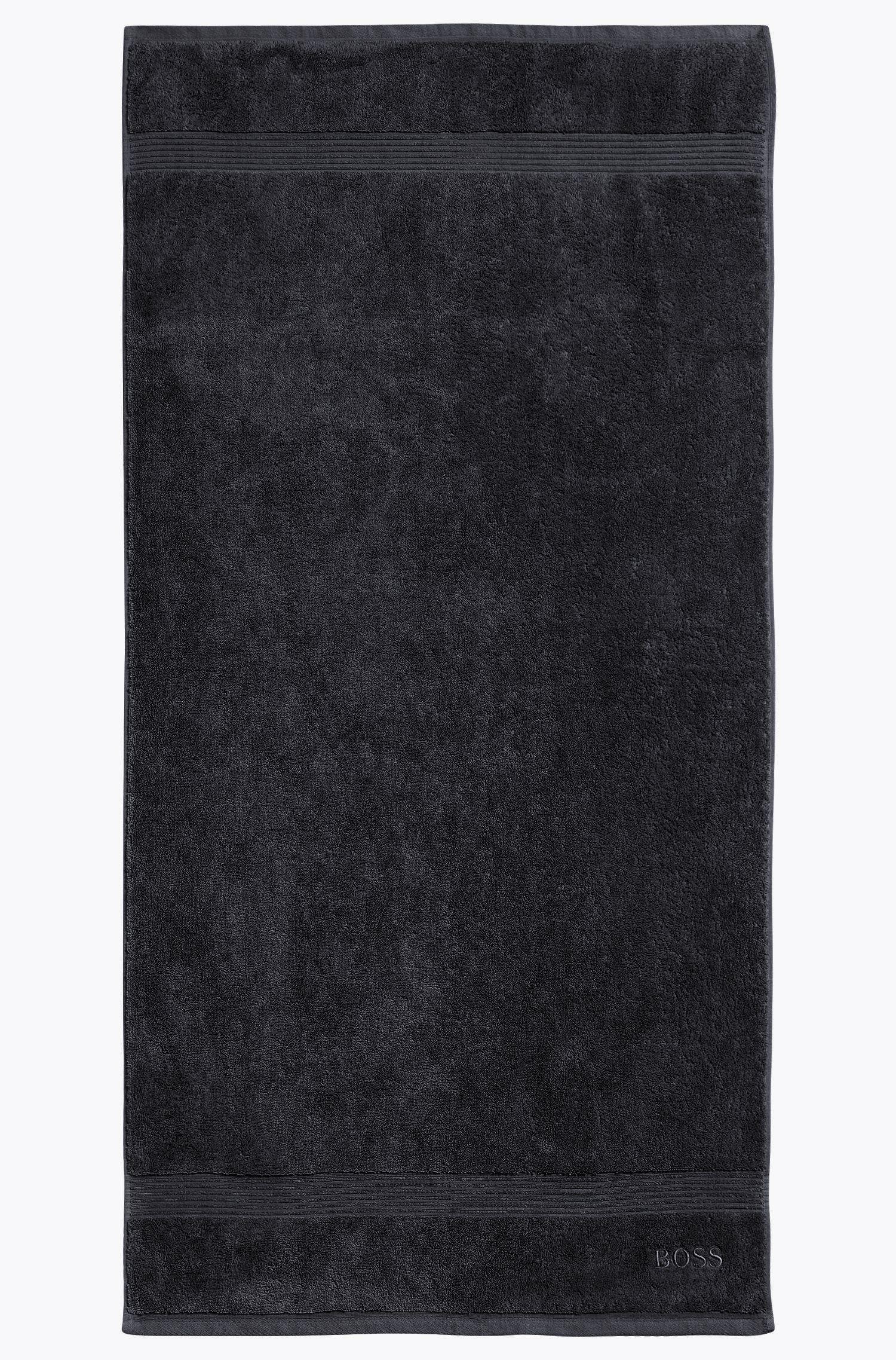 Toalla de baño en algodón peinado del Egeo con borde de canalé, Negro