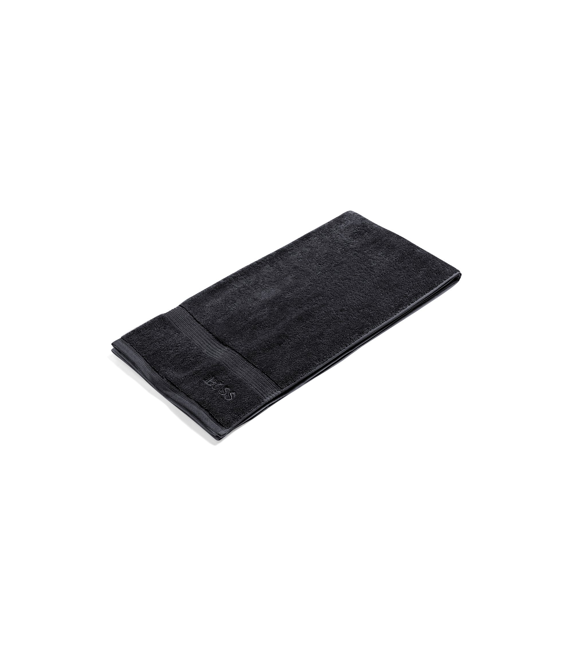 Bath towel in combed Aegean cotton with ribbed border, Black