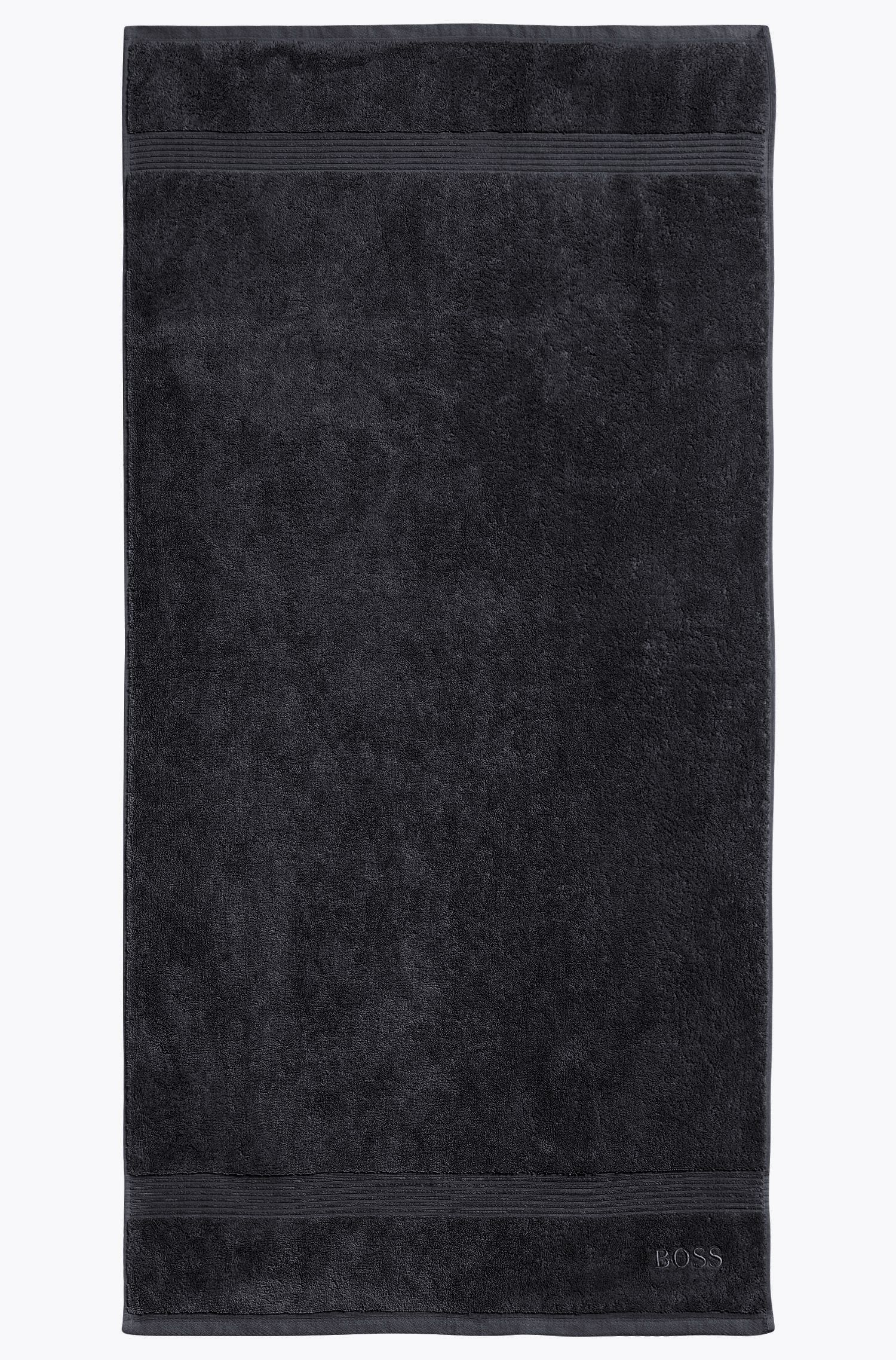 Serviette de bain en coton peigné de la mer Égée avec bordures côtelées, Noir