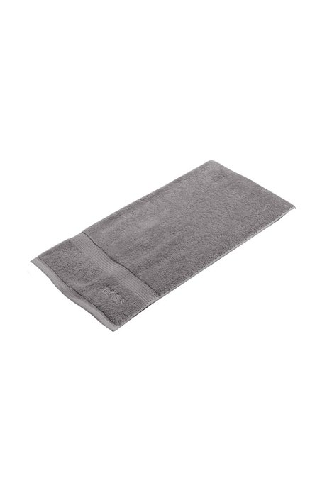 Bath towel in combed Aegean cotton with ribbed border, Silver