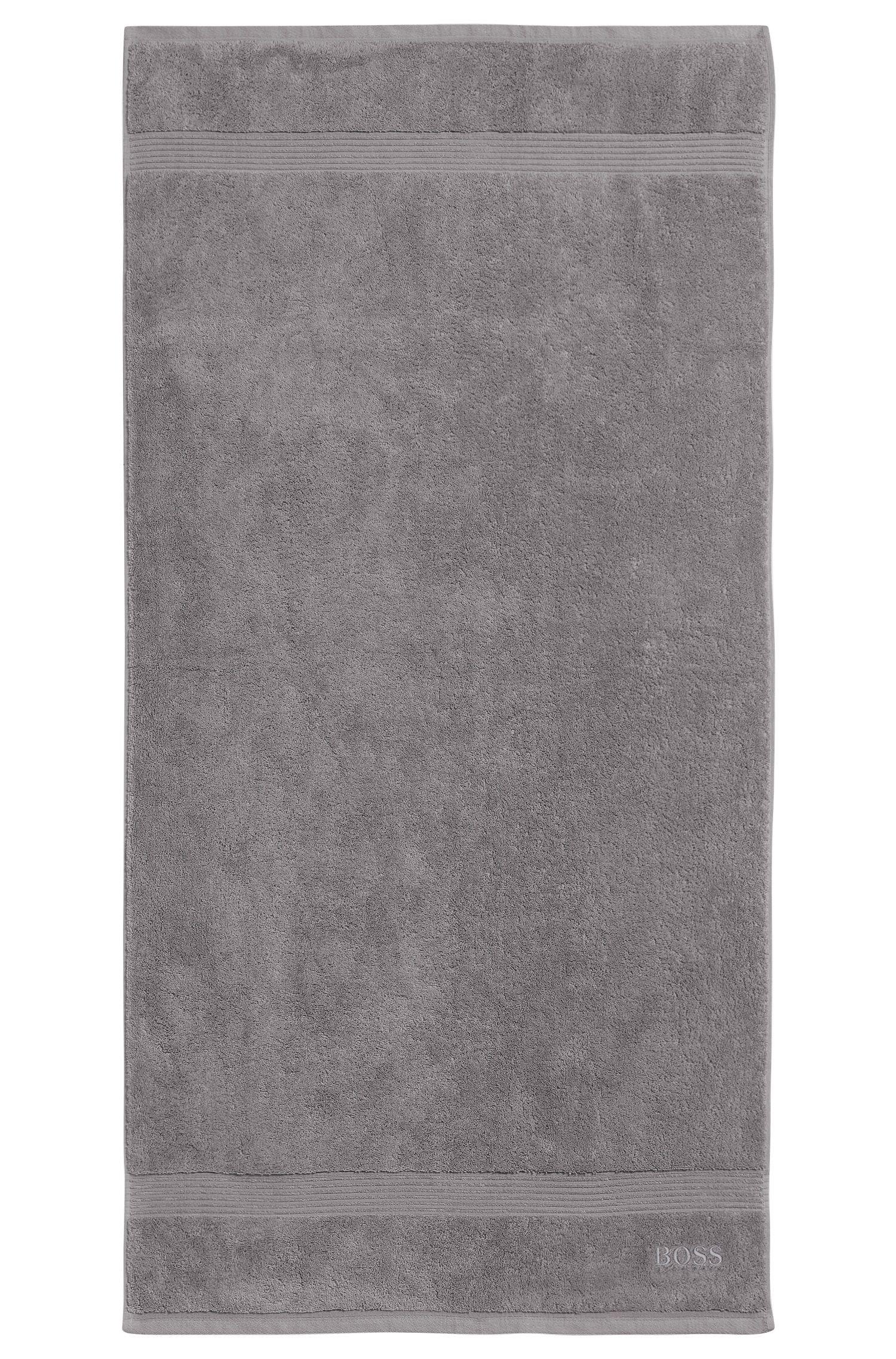 Badetuch aus gekämmter ägäischer Baumwolle mit Ripp-Bordüre, Silber
