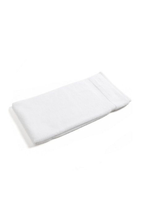 Bath towel in combed Aegean cotton with ribbed border, White