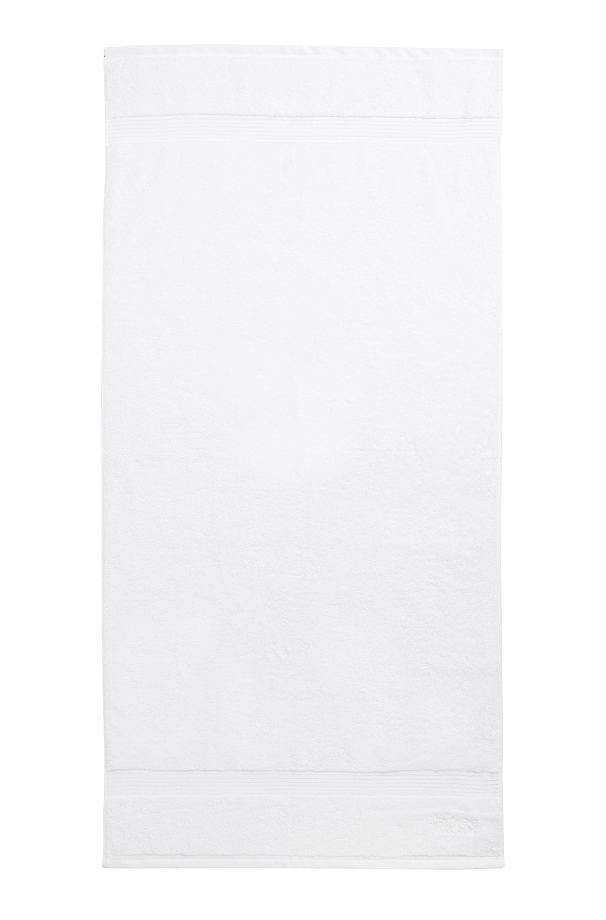 Bath towel in combed Aegean cotton with ribbed border
