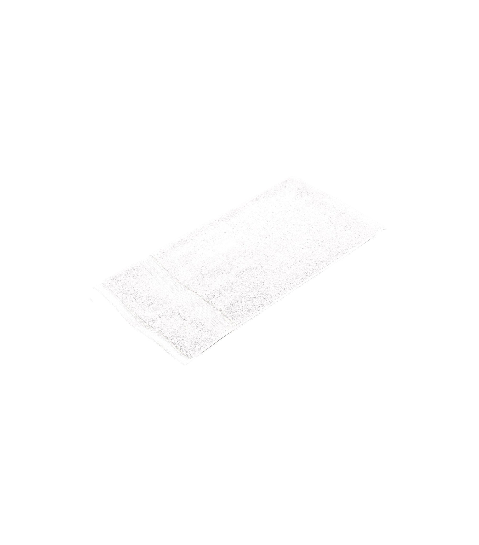 Serviette de bain en coton peigné de la mer Égée avec bordures côtelées, Blanc