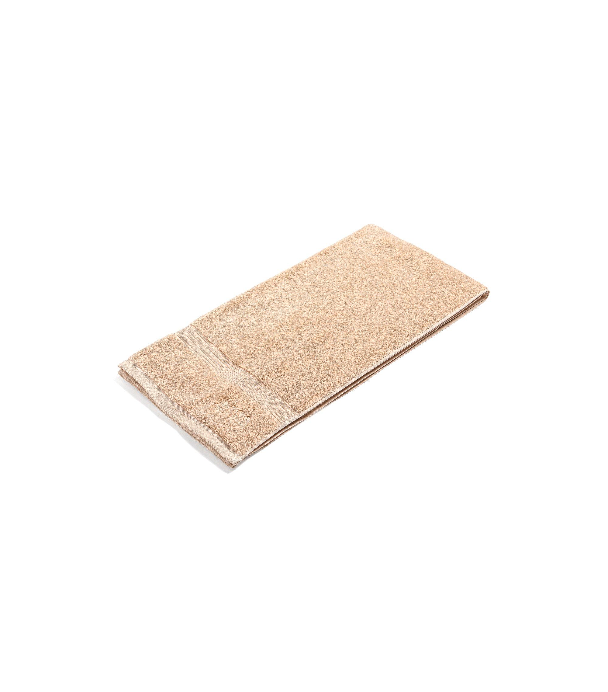 Serviette de bain en coton peigné de la mer Égée avec bordures côtelées, Brun chiné