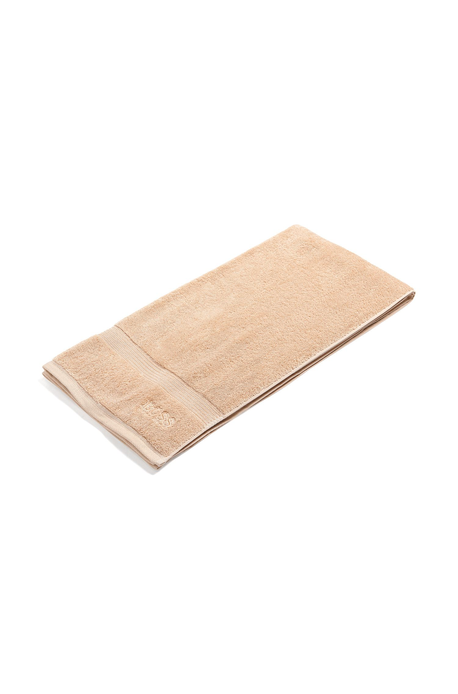 Bath towel in combed Aegean cotton with ribbed border, Light Brown