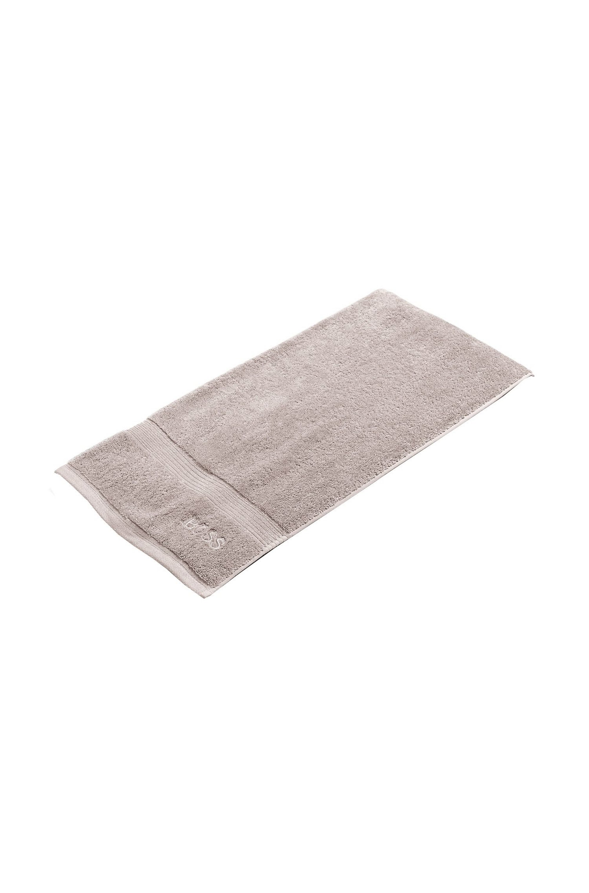 Bath towel in combed Aegean cotton with ribbed border, Light Beige
