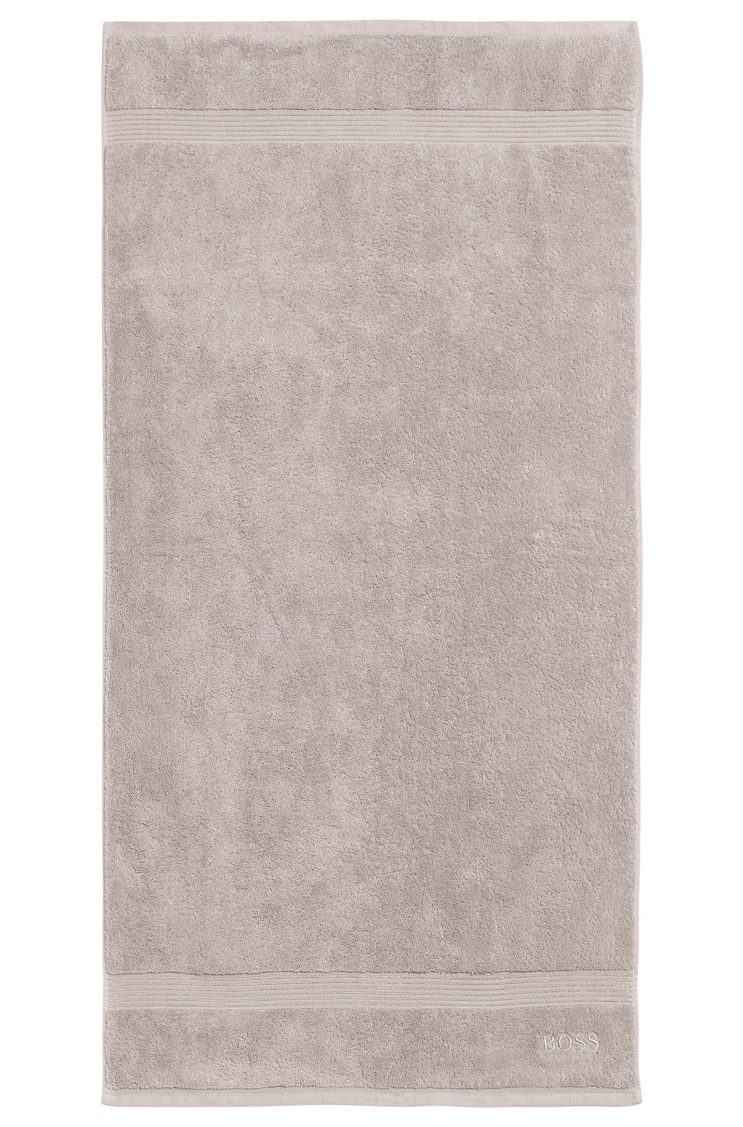 Badhanddoek van gekamde Egeïsche katoen met geribde rand, Lichtbeige