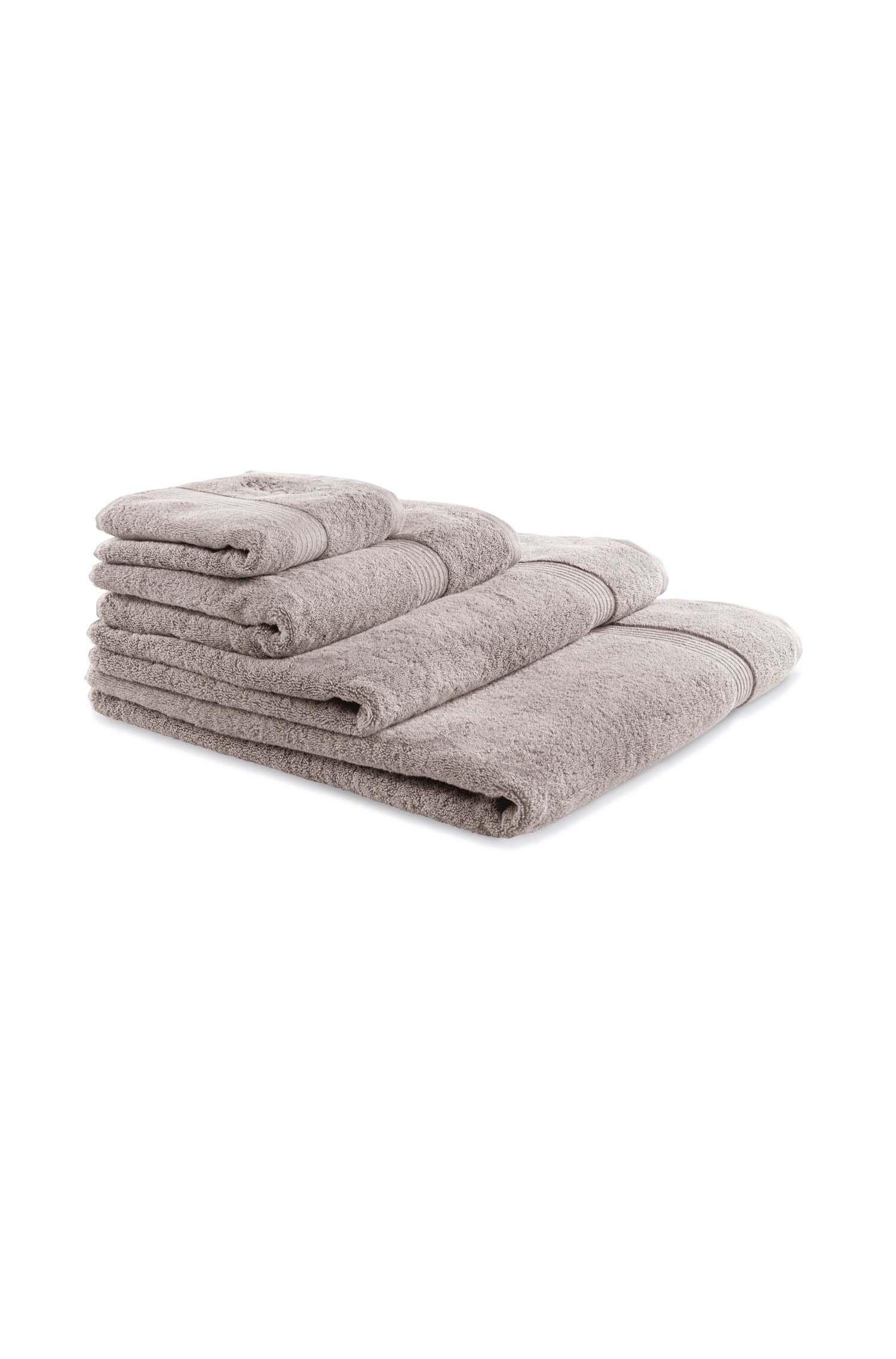 Asciugamano da bagno in cotone egeo pettinato con bordo a coste, Beige chiaro