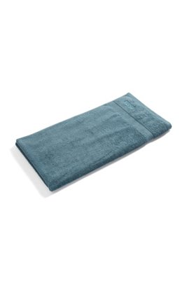 Bath towel in combed Aegean cotton with ribbed border, Dark Blue