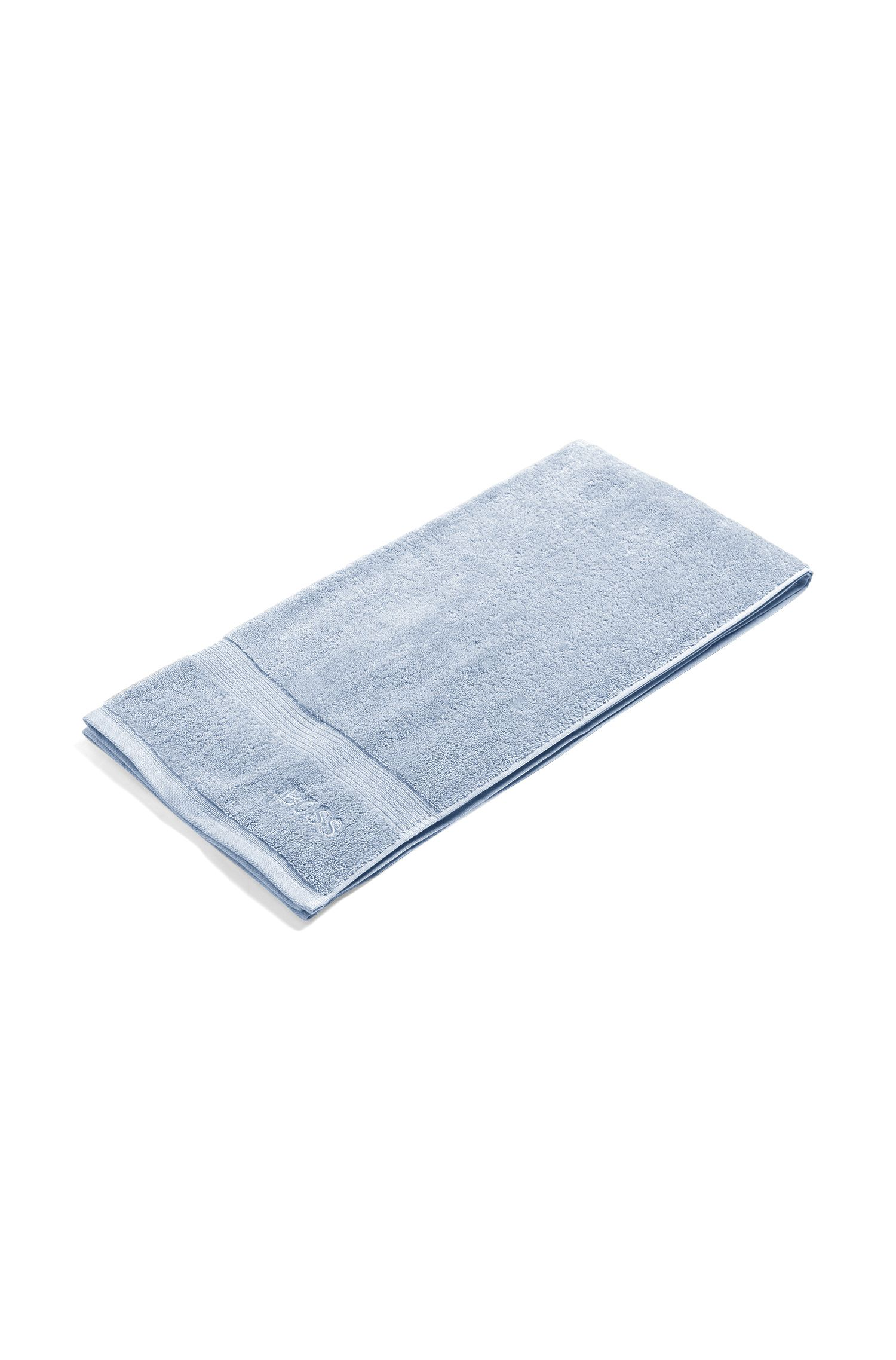 Bath towel in combed Aegean cotton with ribbed border, Light Blue