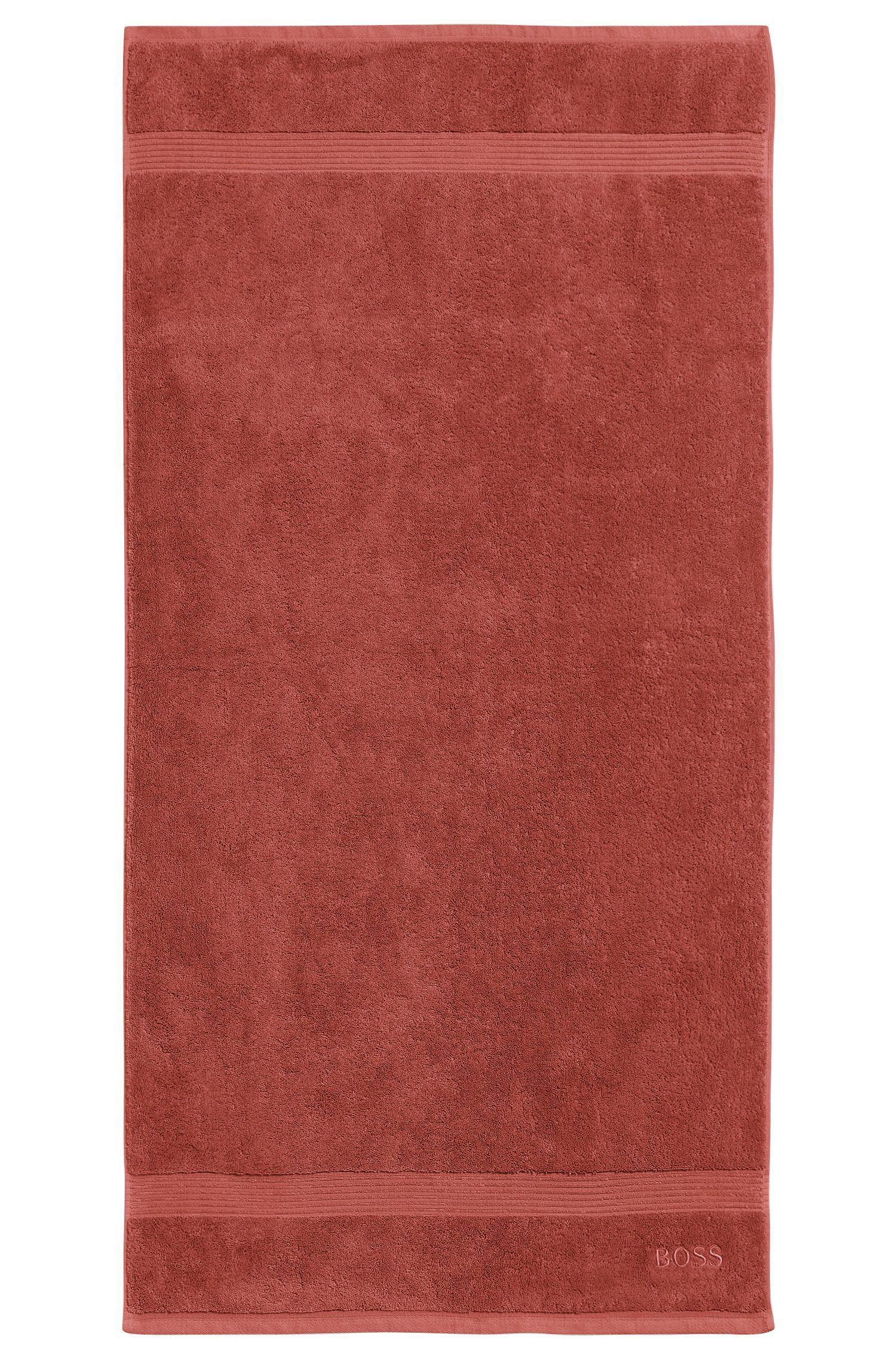 Serviette de bain en coton peigné de la mer Égée avec bordures côtelées, Orange foncé