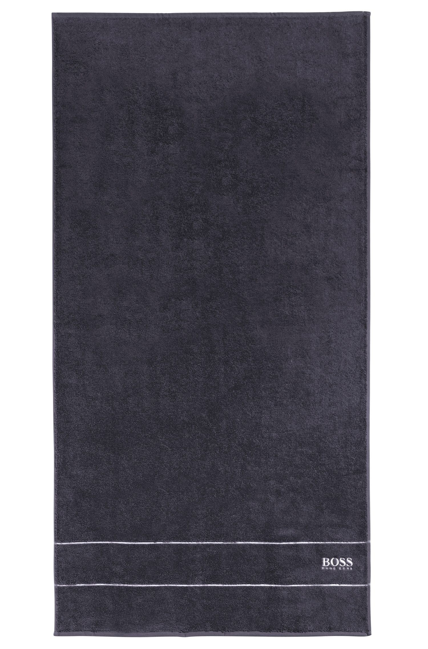 Finest Egyptian cotton bath towel with logo border, Anthracite