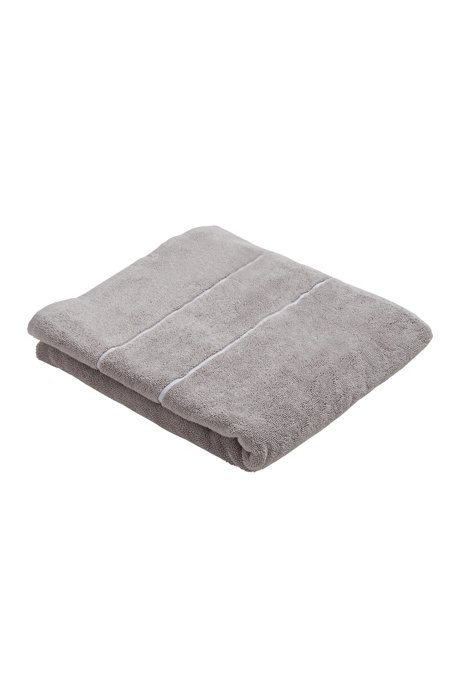 Finest Egyptian cotton bath towel with logo border, Dark Grey