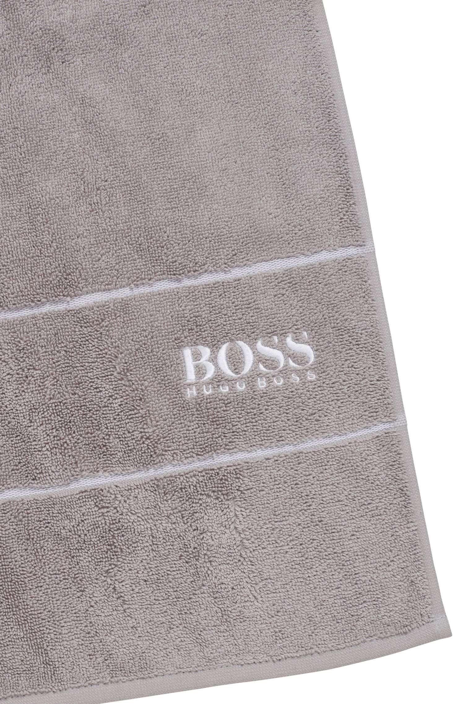 Finest Egyptian cotton bath towel with logo border, Dark Grey