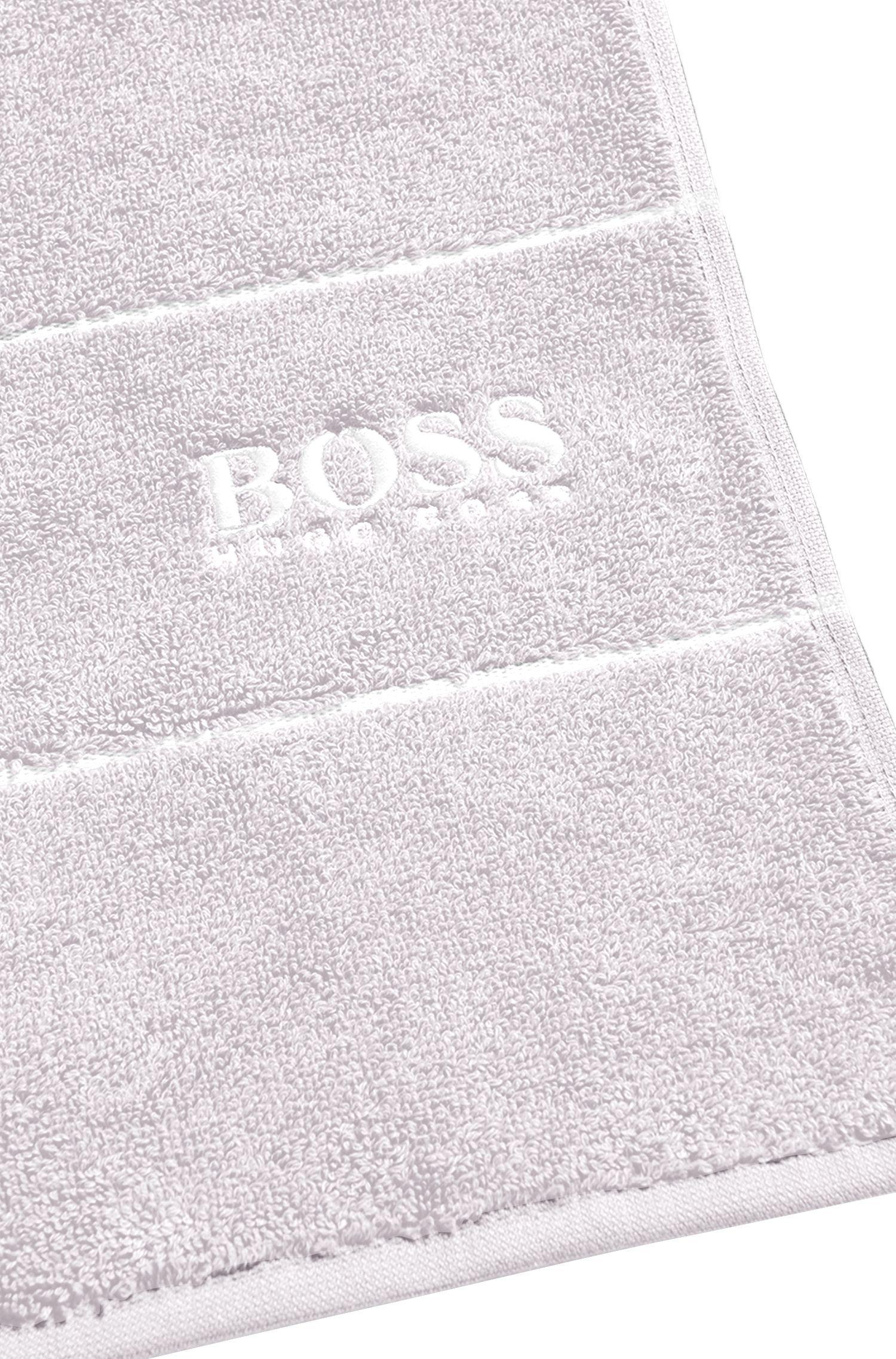 Serviette de bain en coton égyptien des plus raffinés avec bordure logo, Argent