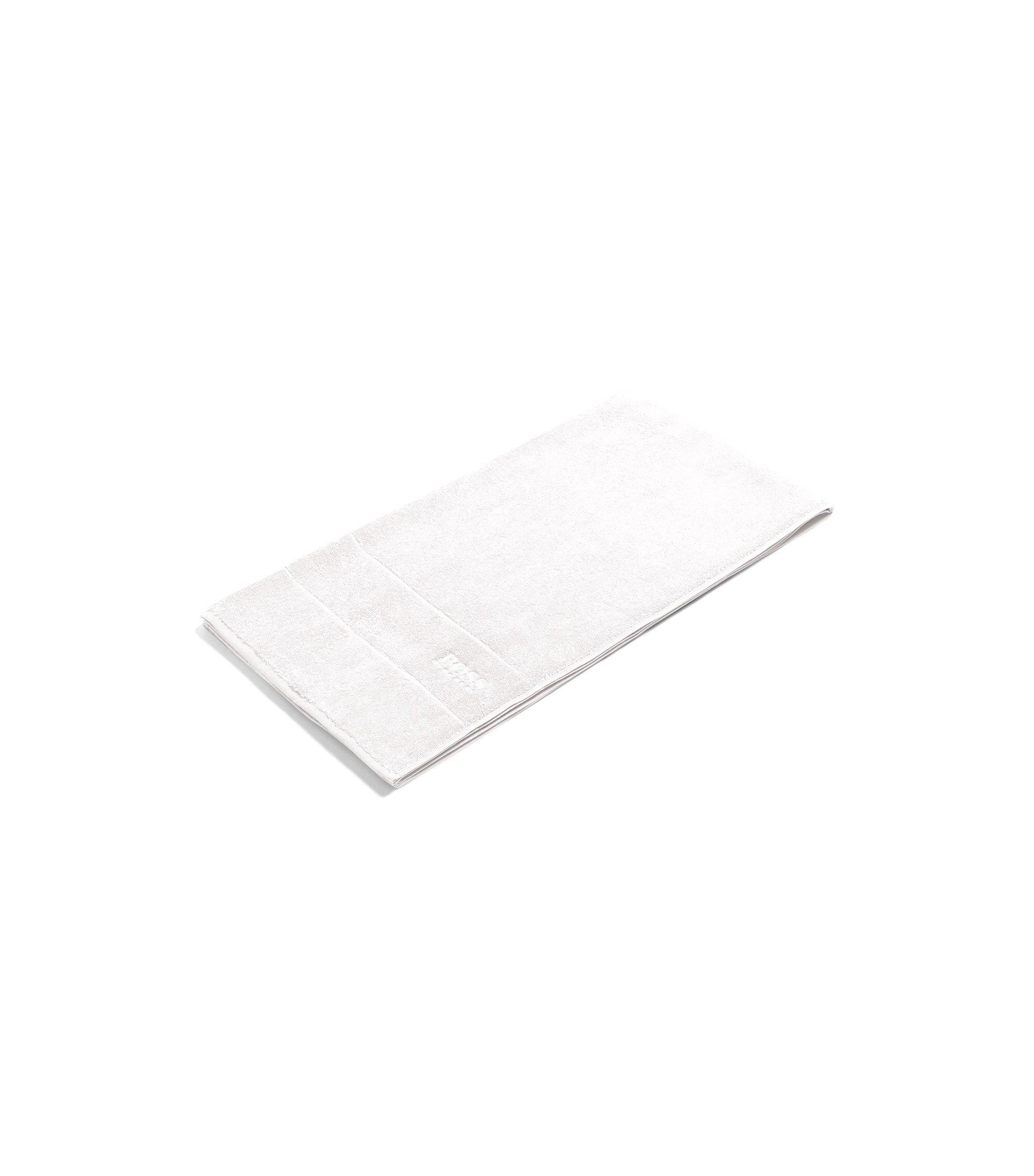 Serviette de bain en coton égyptien des plus raffinés avec bordure logo, Blanc