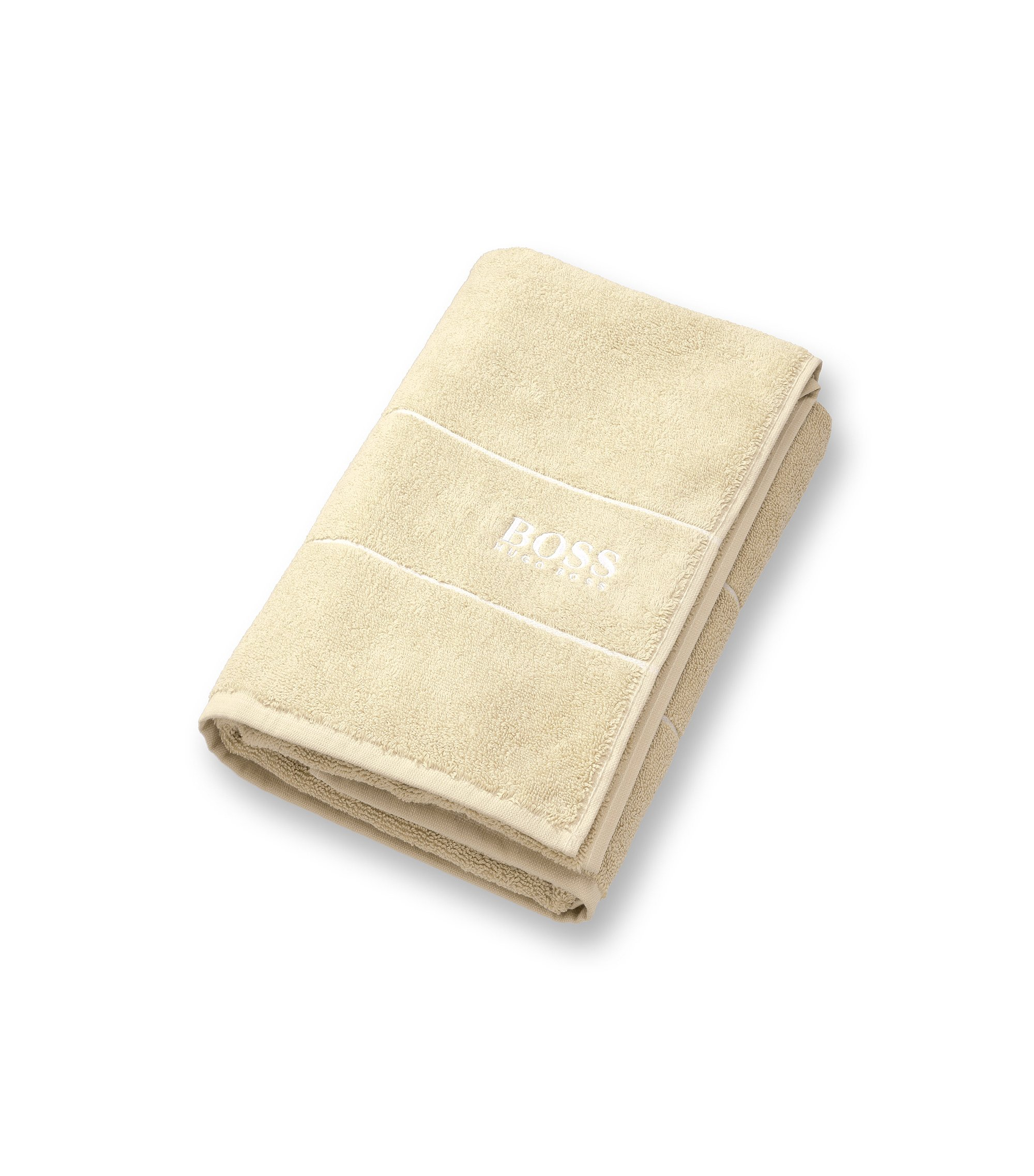 Finest Egyptian cotton bath towel with logo border, Light Beige