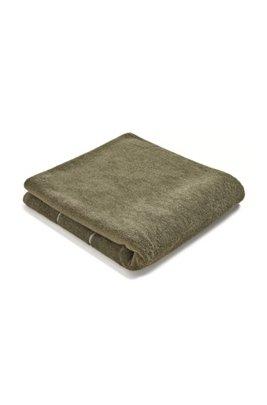 Finest Egyptian cotton bath towel with logo border, Dark Green