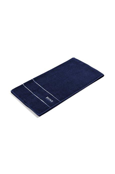 Finest Egyptian cotton bath towel with logo border, Dark Blue