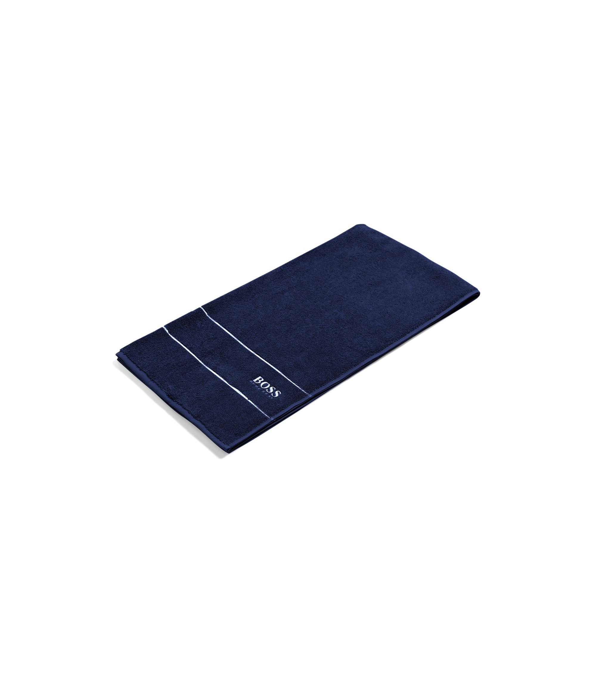 Finest Egyptian cotton bath towel with logo border, Dark Blue