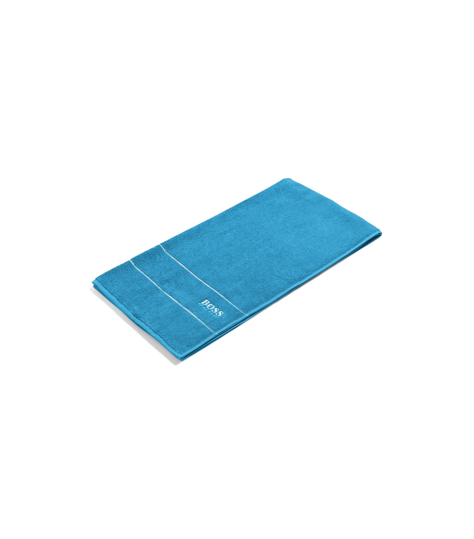 Finest Egyptian cotton bath towel with logo border, Blue
