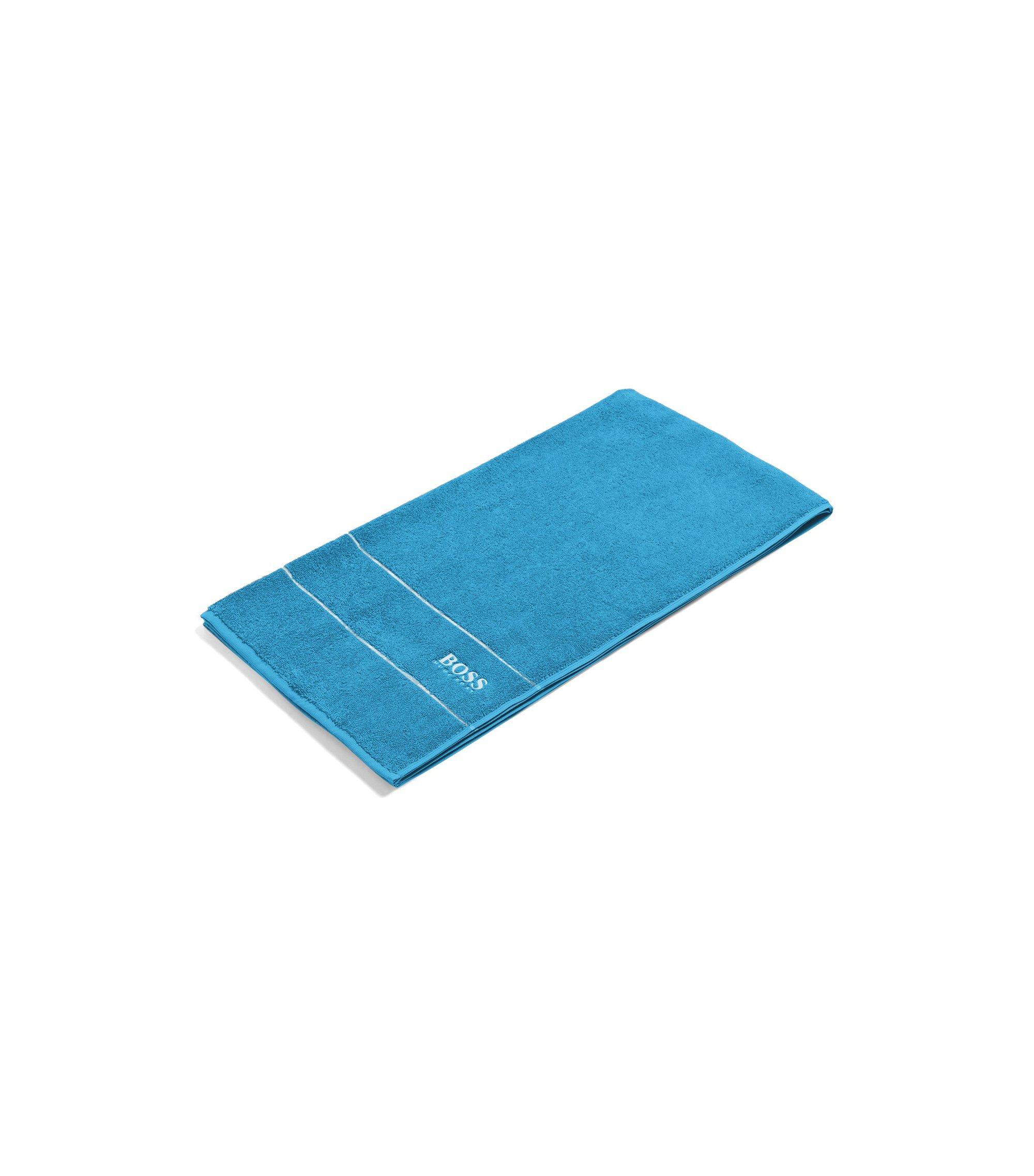 Toalla de baño en algodón egipcio de la máxima calidad con logo en el borde, Azul