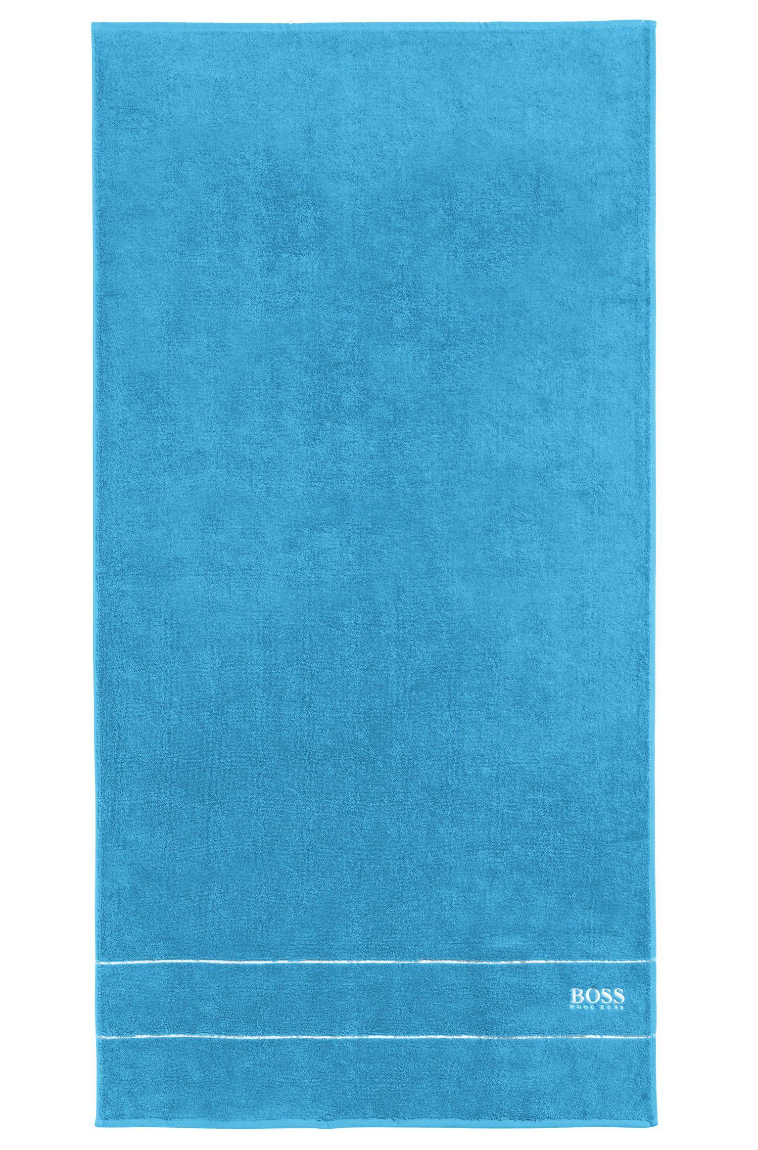 Serviette de bain en coton égyptien des plus raffinés avec bordure logo, Bleu