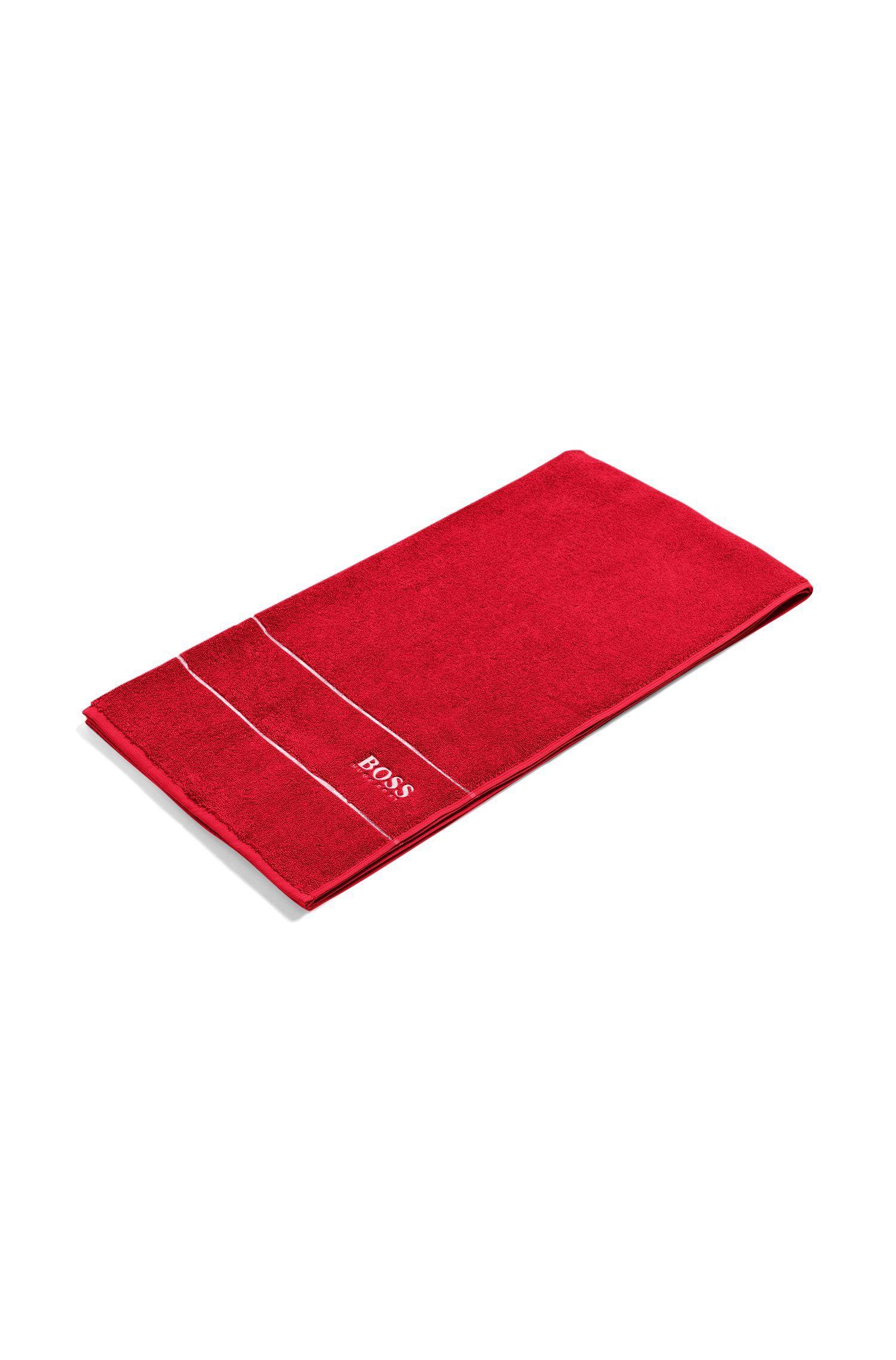 Badetuch aus feinster ägyptischer Baumwolle mit Logo-Bordüre, Rot