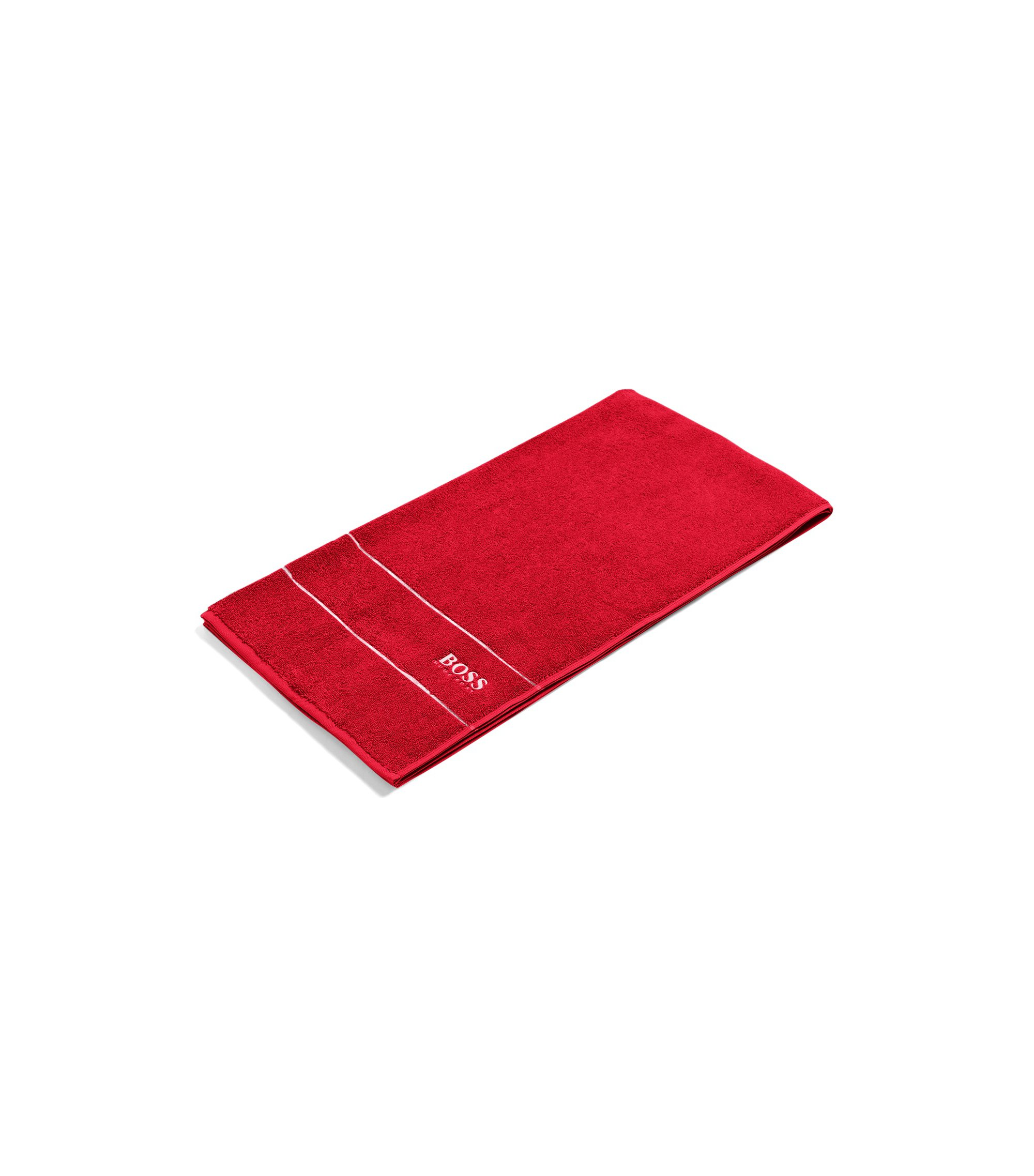 Finest Egyptian cotton bath towel with logo border, Red