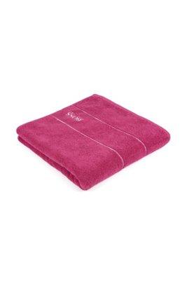 Asciugamano da bagno in raffinato cotone egiziano con bordo con logo, Rosa