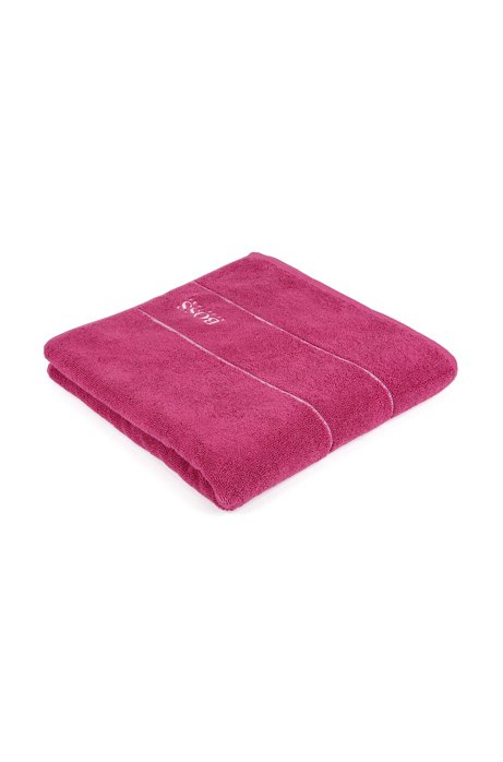 Finest Egyptian cotton bath towel with logo border, Pink