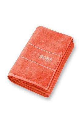 Serviette de bain en coton égyptien des plus raffinés avec bordure logo, Orange