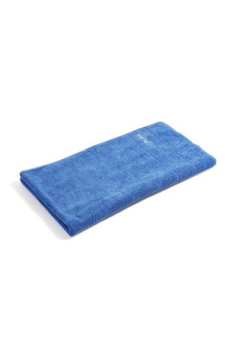Asciugamano da bagno in raffinato cotone egiziano con bordo con logo, Blu