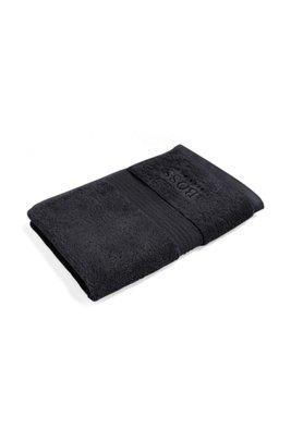 Gästehandtuch aus gekämmter ägäischer Baumwolle mit Ripp-Bordüre, Schwarz