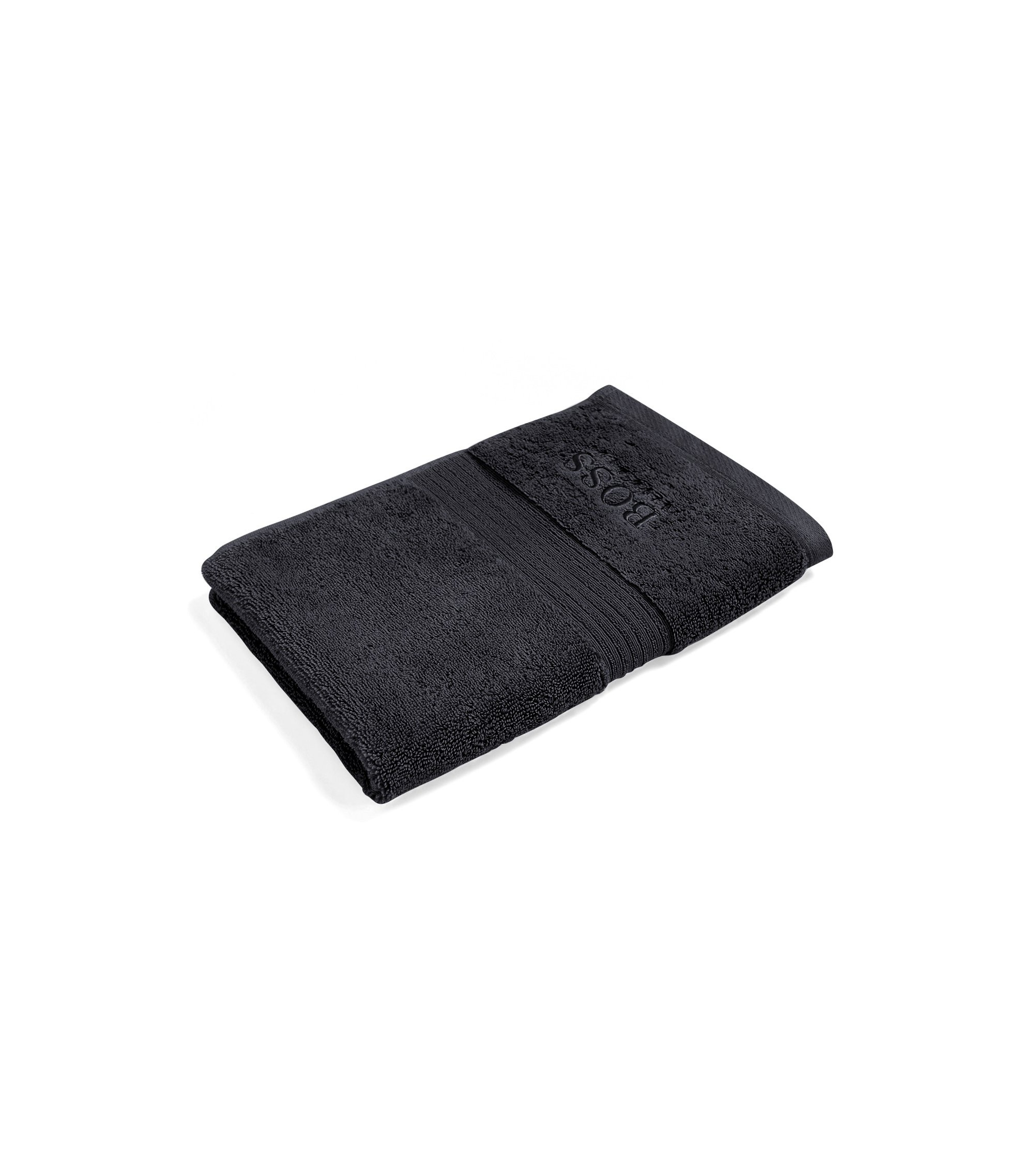 Guest towel in combed Aegean cotton with ribbed border, Black