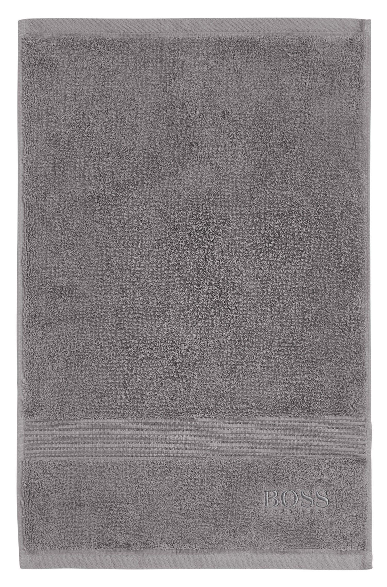 Gastenhanddoek van gekamde Egeïsche katoen met geribde rand, Zilver