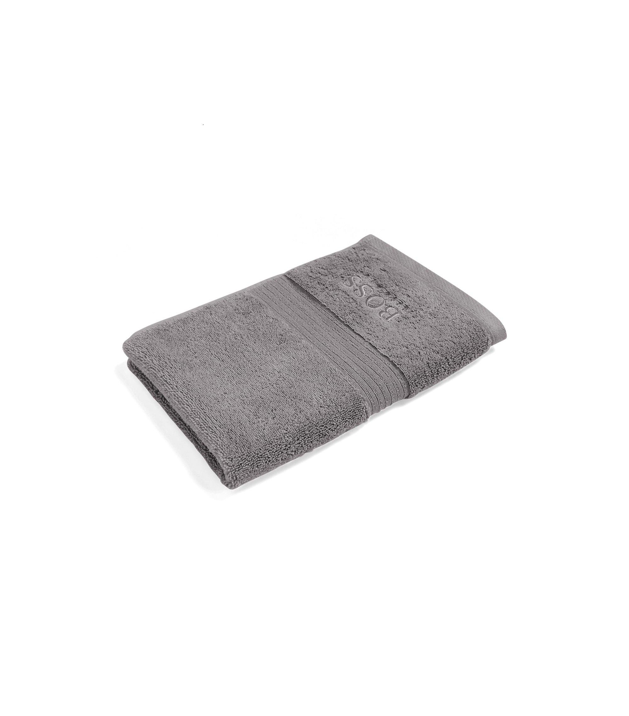Serviette de toilette pour invité en coton égyptien peigné avec bordure côtelée, Argent
