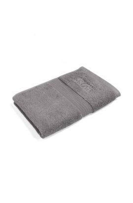 Guest towel in combed Aegean cotton with ribbed border, Silver