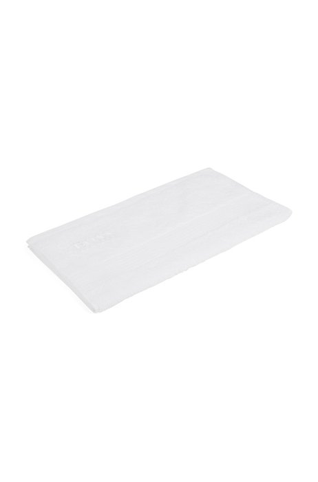 Guest towel in combed Aegean cotton with ribbed border, White