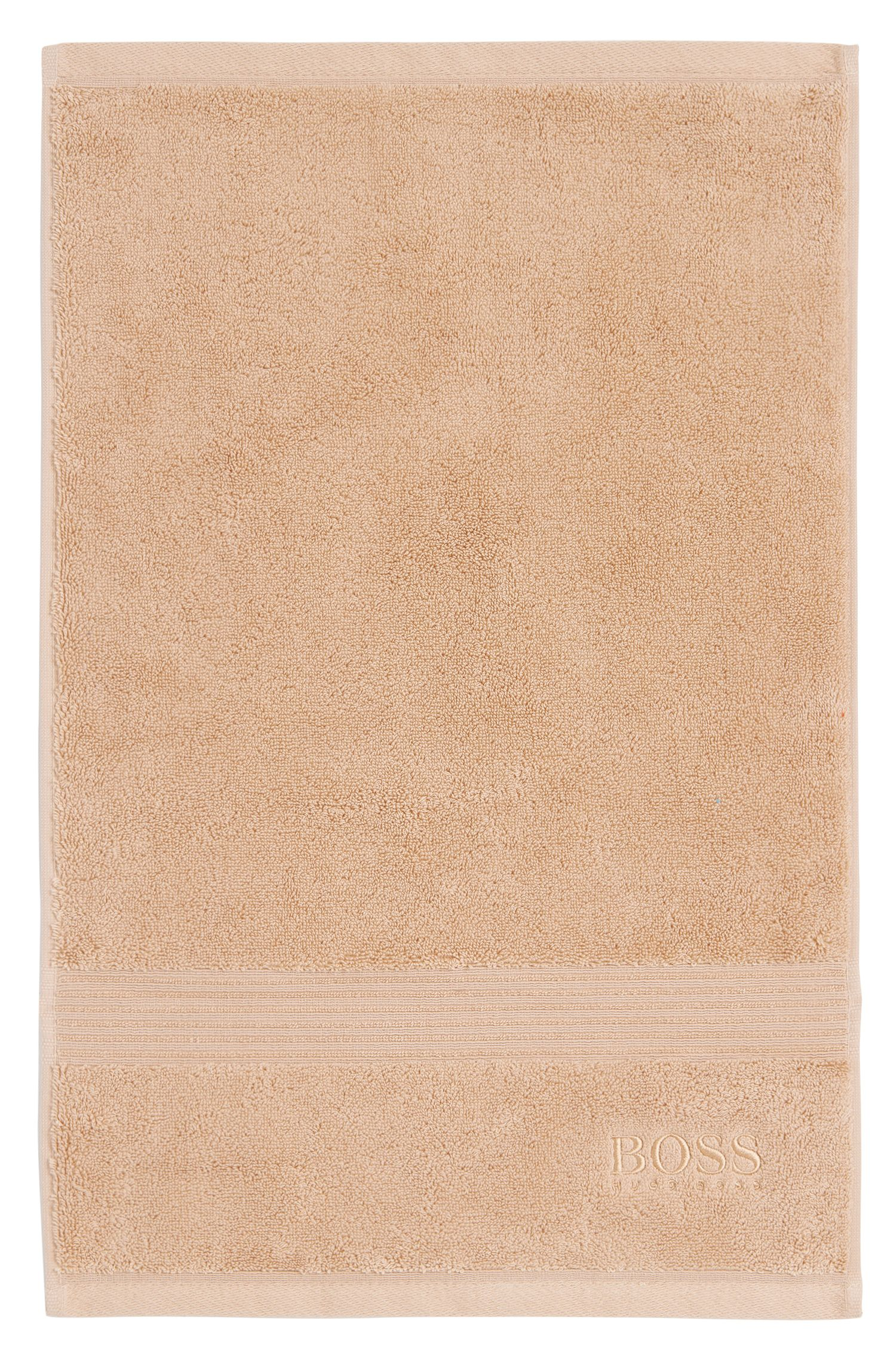 Guest towel in combed Aegean cotton with ribbed border, Beige