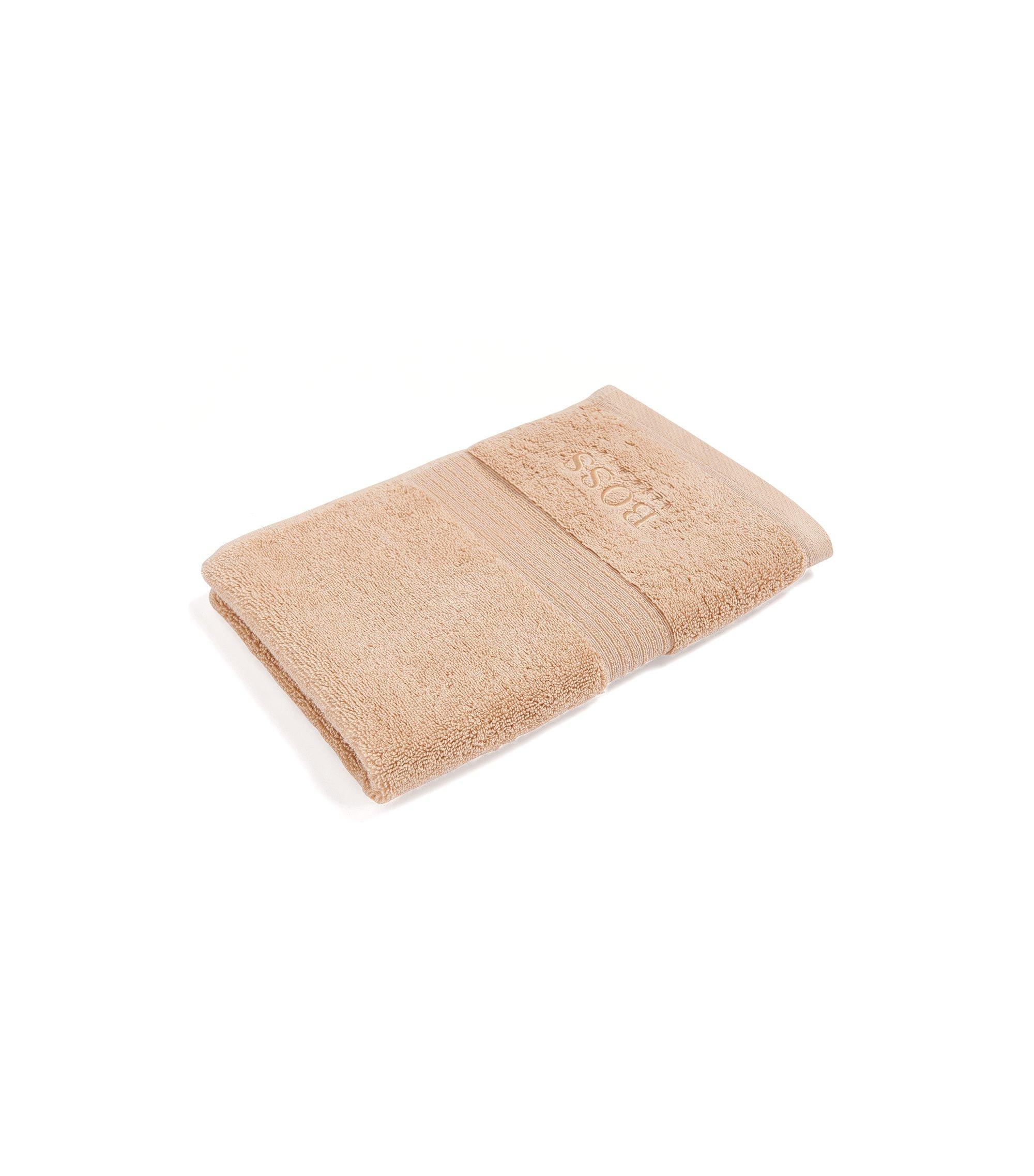 Gastenhanddoek van gekamde Egeïsche katoen met geribde rand, Beige